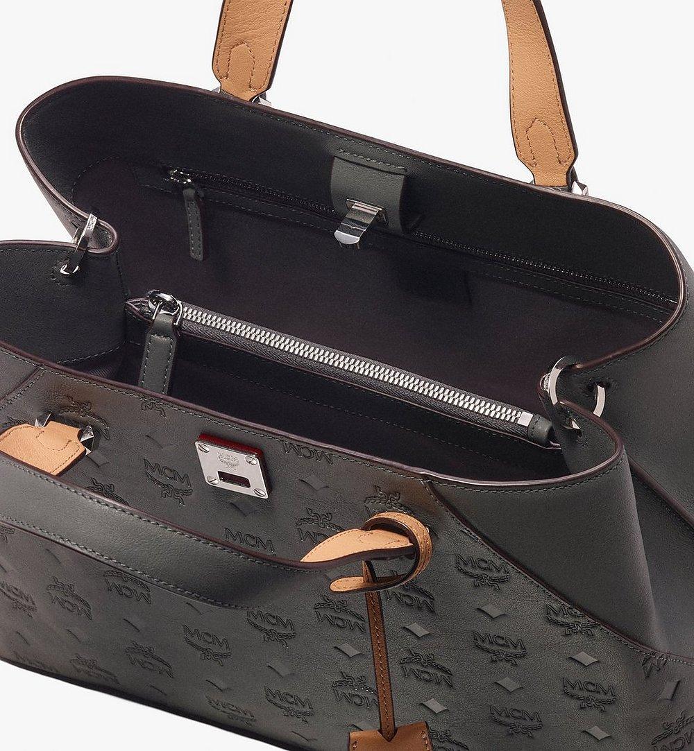 MCM Essential Tote Bag in Monogram Leather Grey MWT9ASE43EC001 Alternate View 3