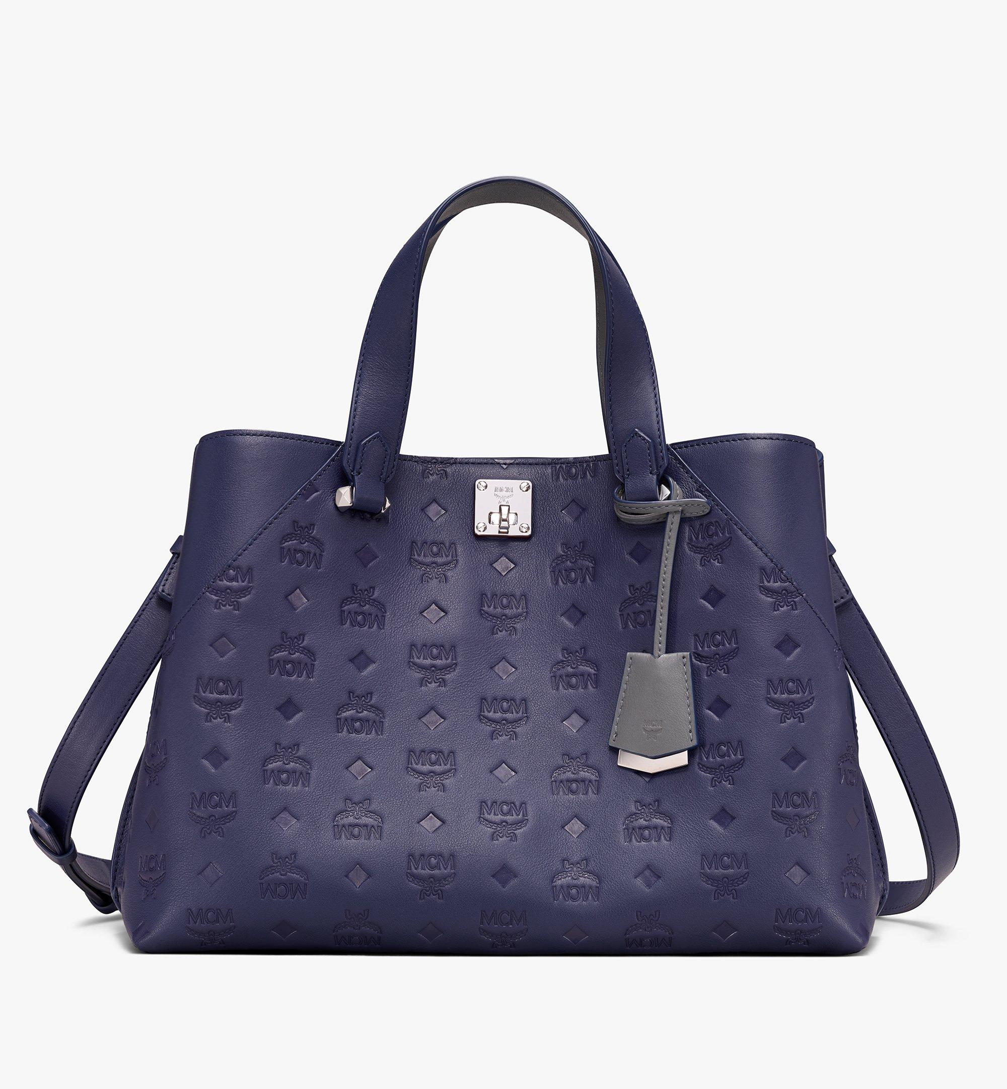 Large Essential Tote Bag in Monogram Leather Navy Blue | MCM® DE