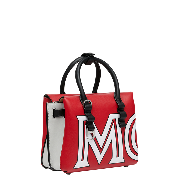 MCM Milla Tote in Contrast Logo Leather Red MWT9SMA16RU001 Alternate View 2