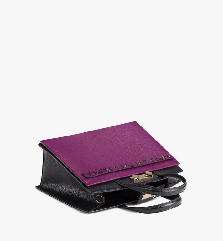 MCM Milano Tote-Tasche aus Ziegenleder in Colorblock Design Cognac MWTAADA01UZ001 Alternate View 3