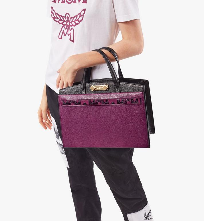 MCM Milano Tote-Tasche aus Ziegenleder in Colorblock Design Cognac MWTAADA01UZ001 Alternate View 7
