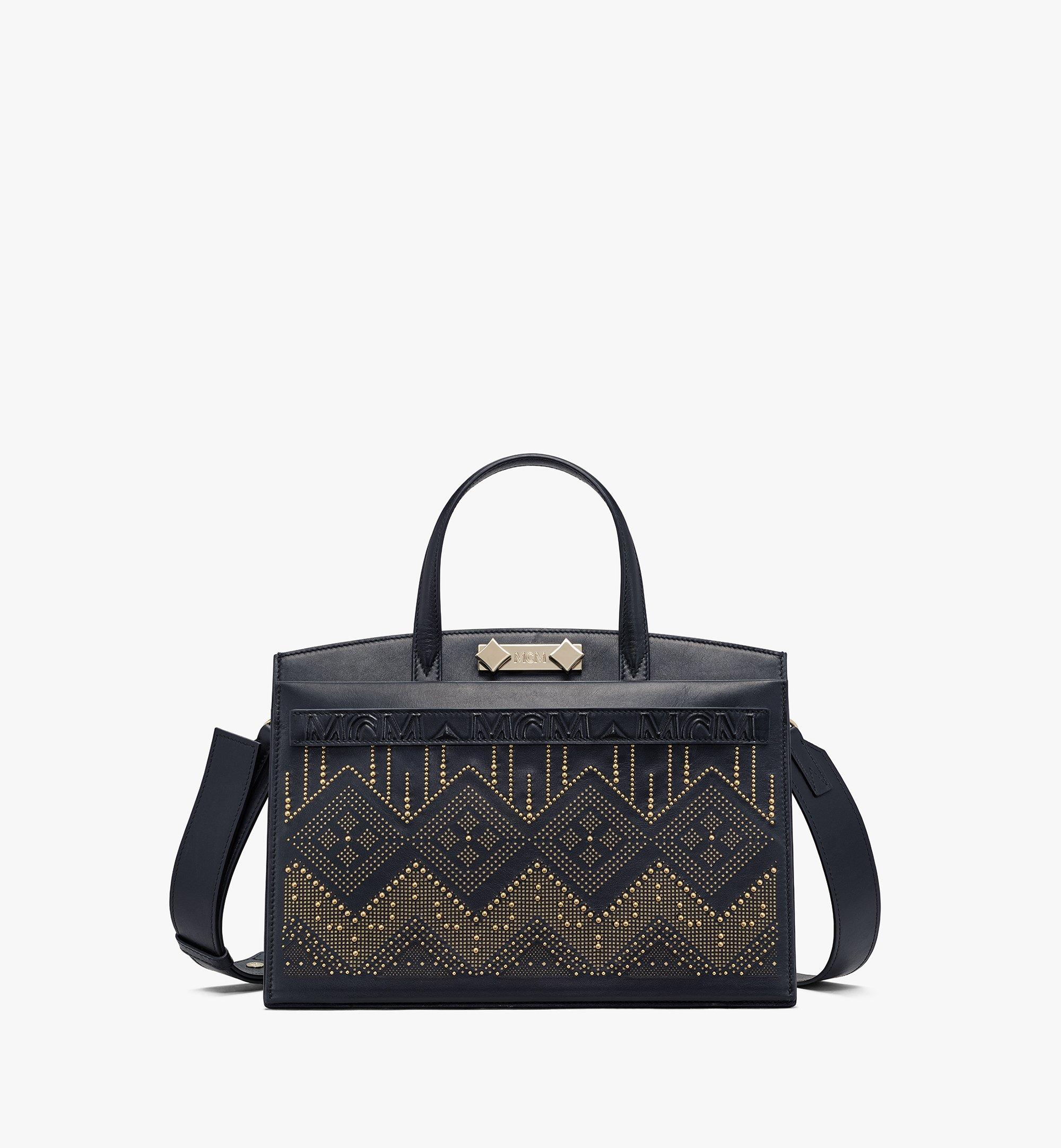 MCM Milano Lux Tote in Studded Leather Black MWTAADA03BK001 Alternate View 1