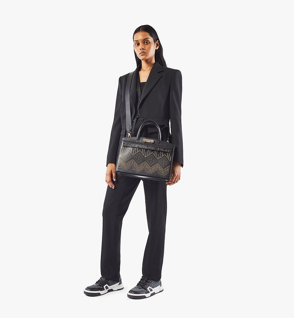 MCM Milano Lux Tote in Studded Leather Black MWTAADA03BK001 Alternate View 3