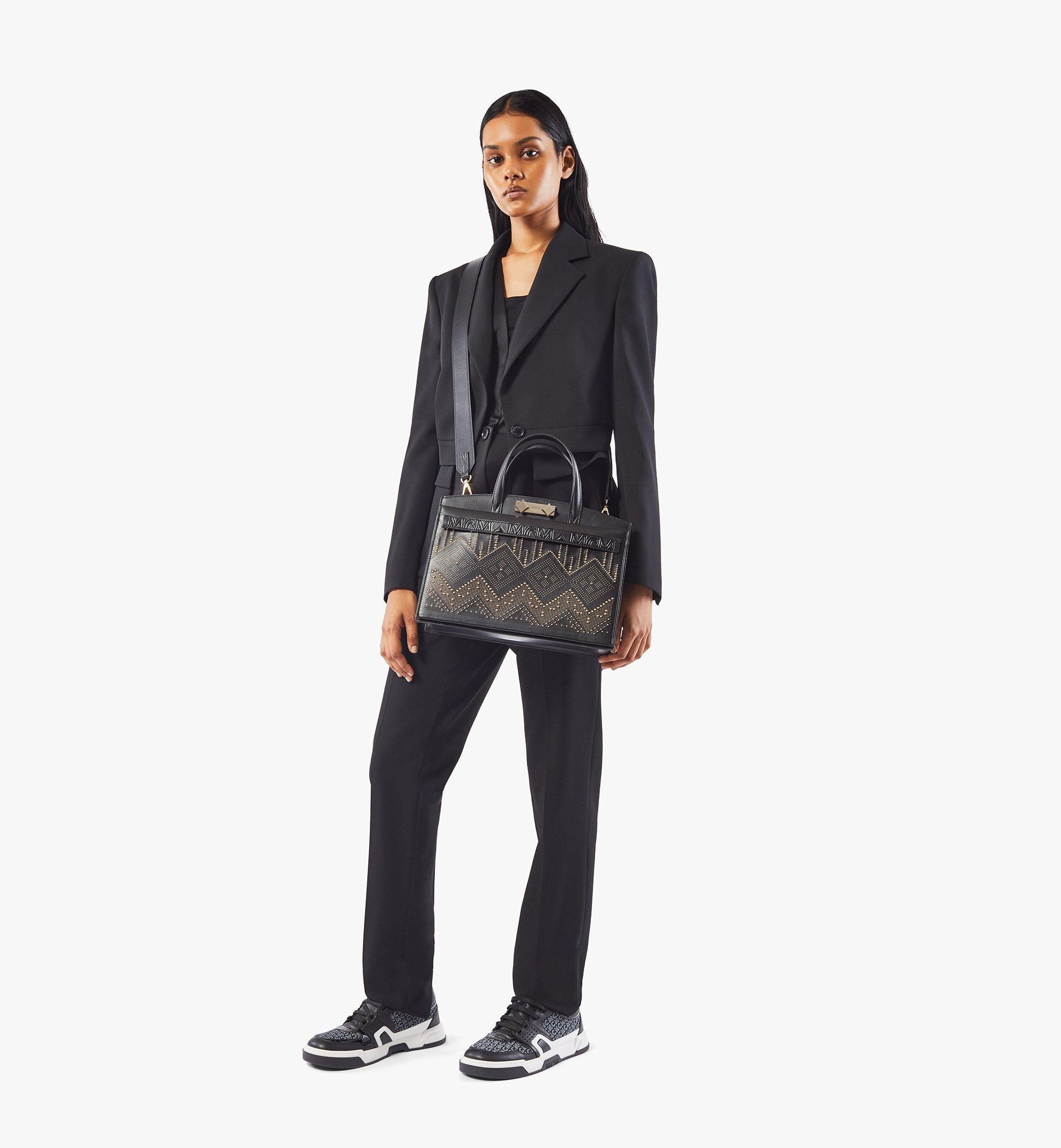 MCM Milano Lux Tote in Studded Leather Black MWTAADA03BK001 Alternate View 5
