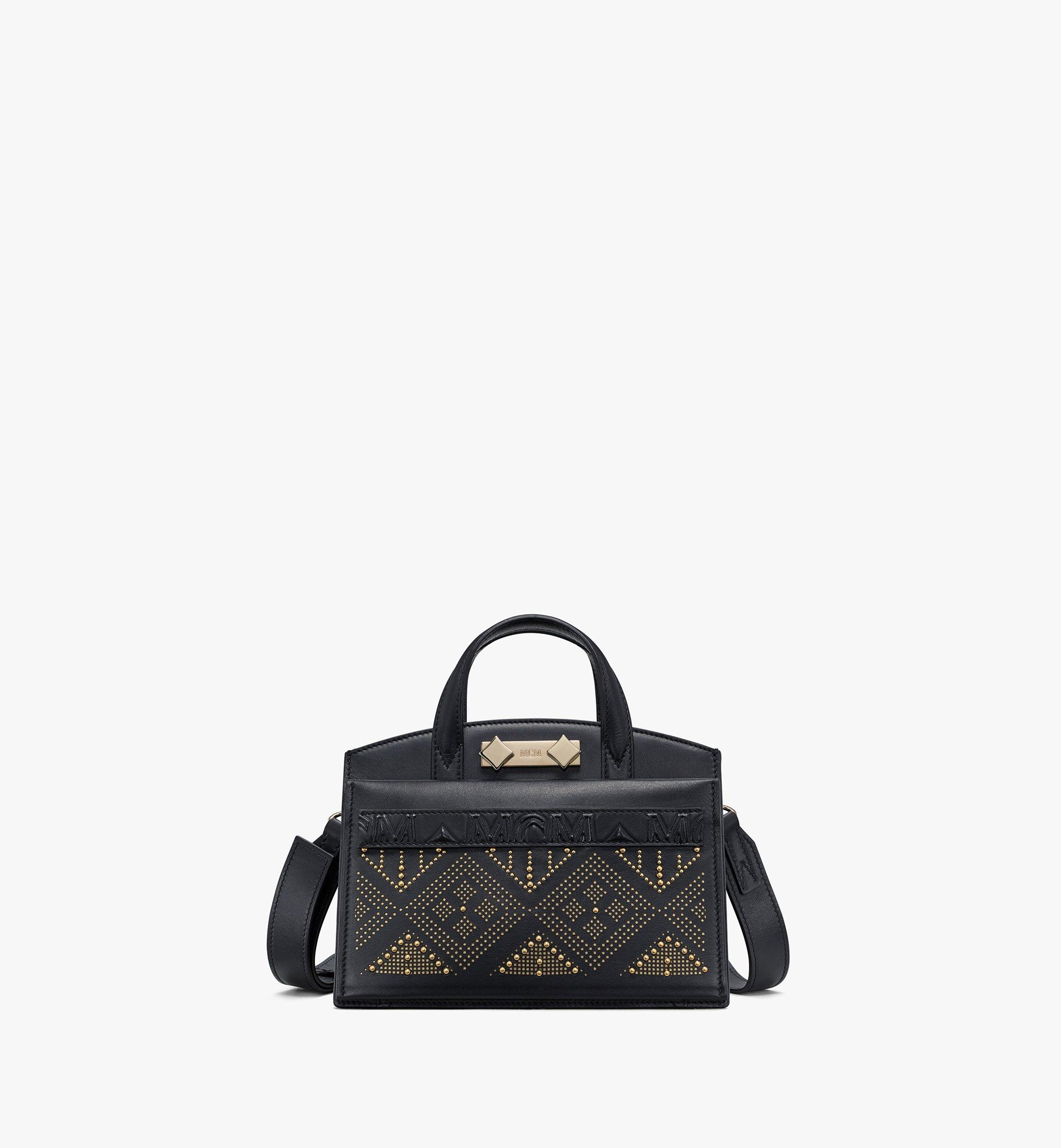 MCM Milano Lux Tote in Studded Leather Black MWTAADA04BK001 Alternate View 1