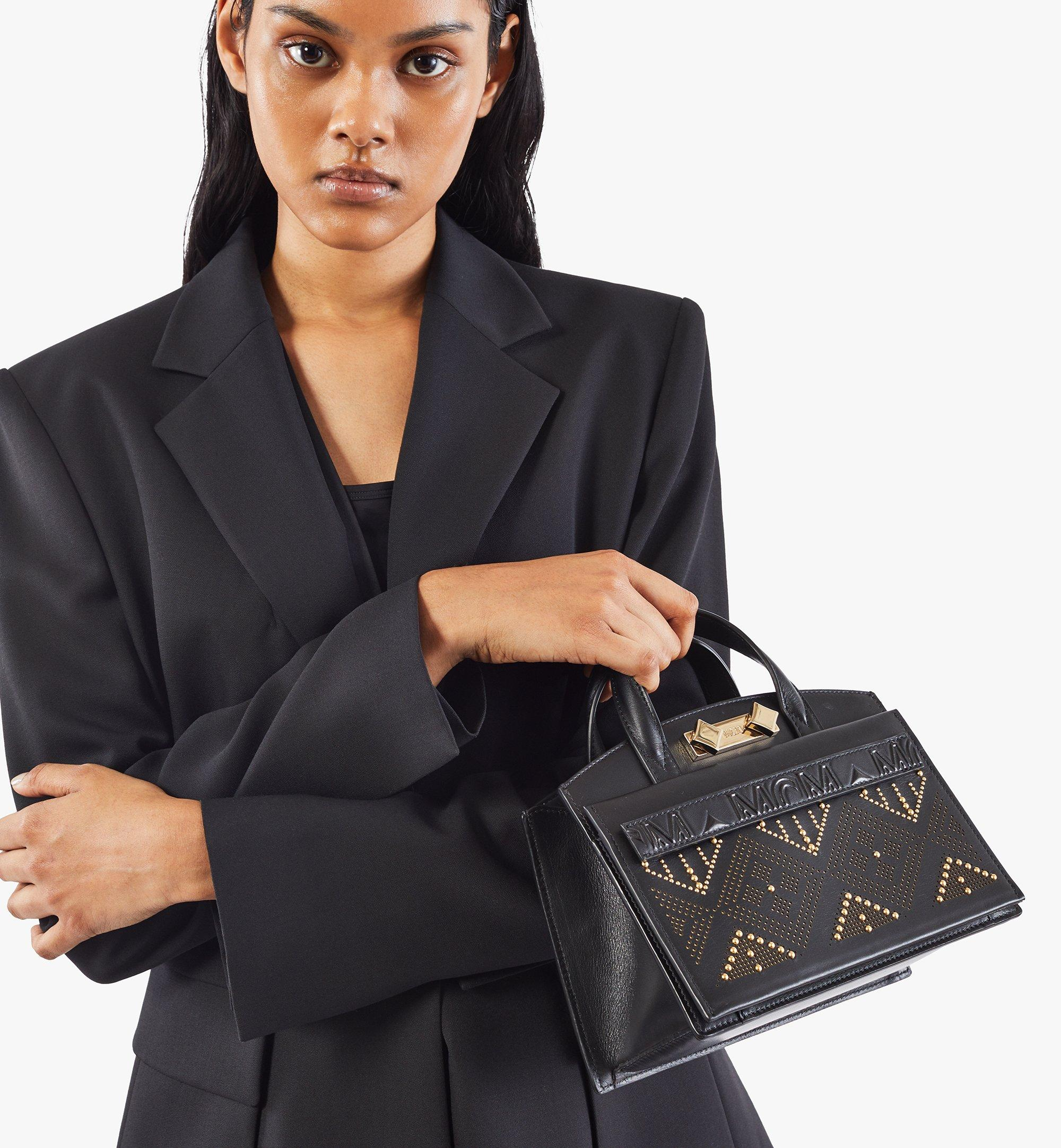 MCM Milano Lux Tote in Studded Leather Black MWTAADA04BK001 Alternate View 7