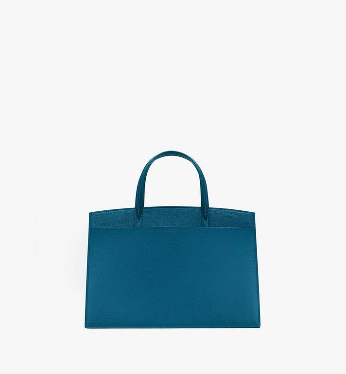 MCM Milano Tote Bag in Goatskin Leather Blue MWTASDA03JF001 Alternate View 3
