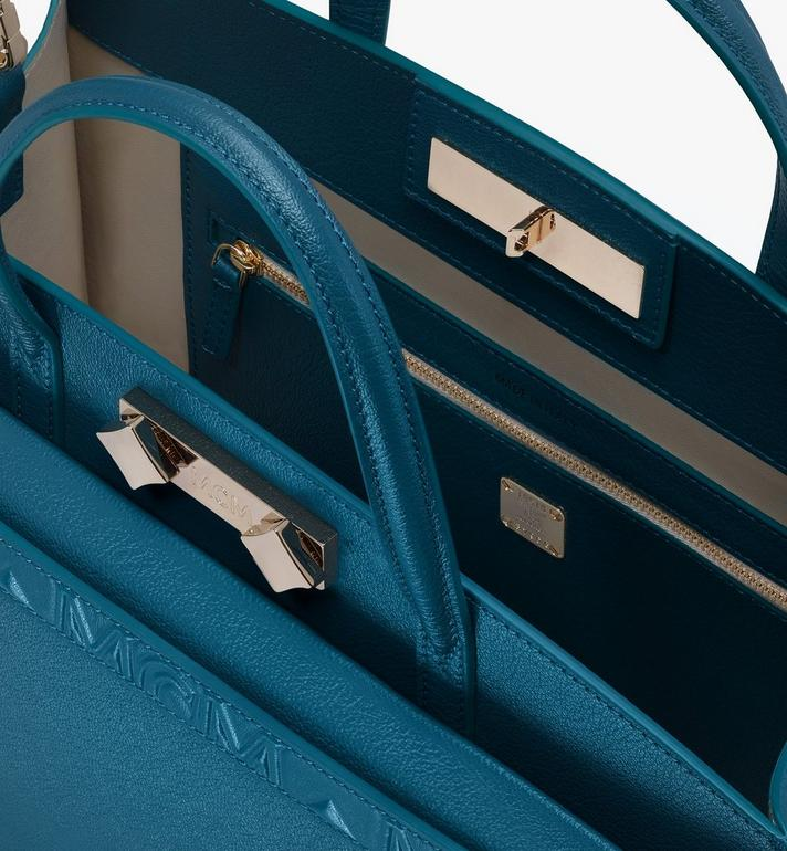 MCM Milano Tote Bag in Goatskin Leather Blue MWTASDA03JF001 Alternate View 4