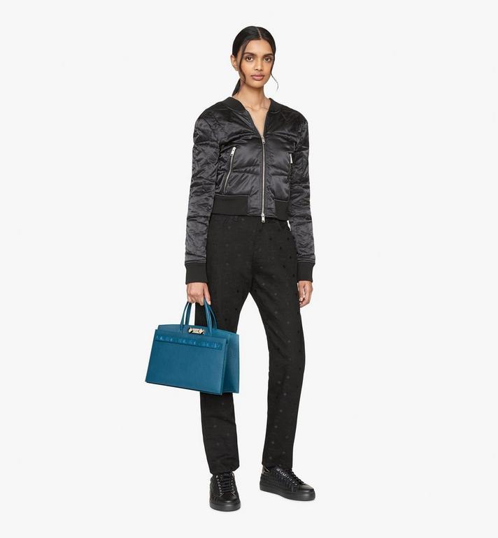 MCM Milano Tote Bag in Goatskin Leather Blue MWTASDA03JF001 Alternate View 5