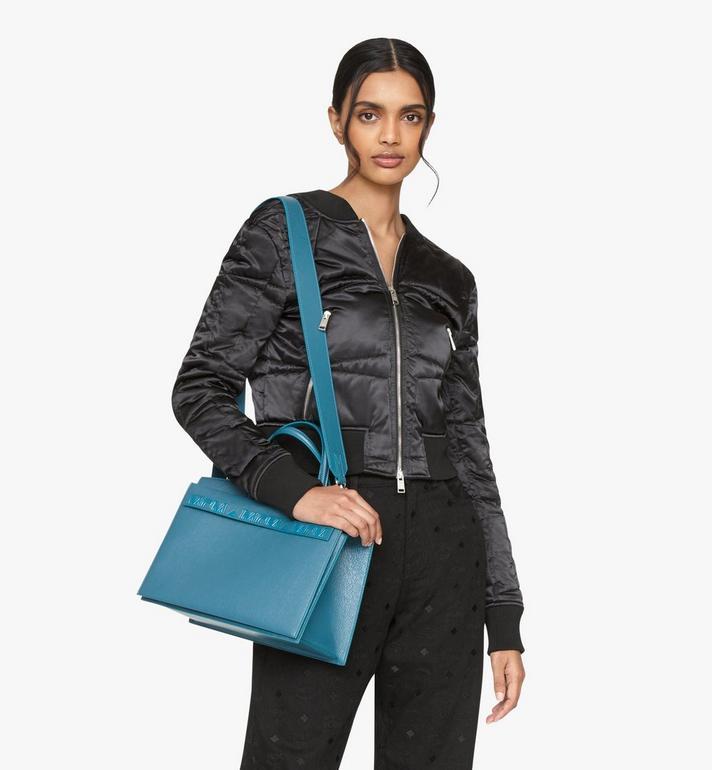MCM Milano Tote Bag in Goatskin Leather Blue MWTASDA03JF001 Alternate View 6