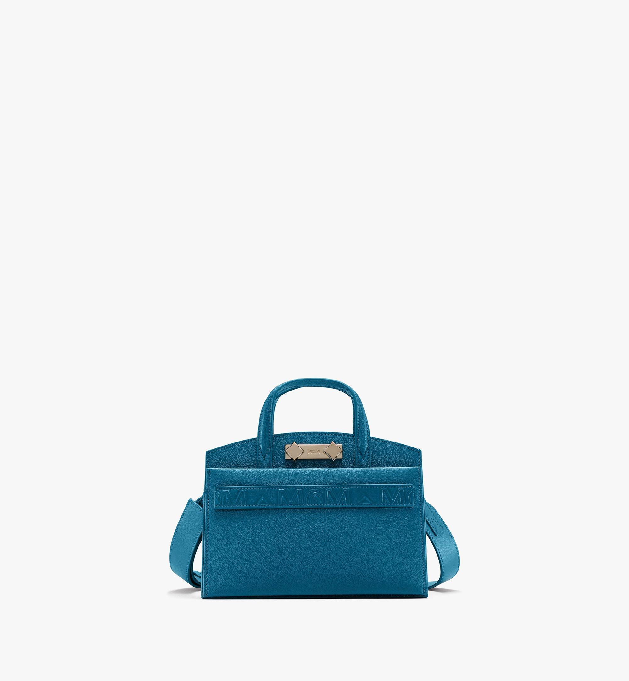 MCM Milano Tote Bag in Goatskin Leather Blue MWTASDA04JF001 Alternate View 1