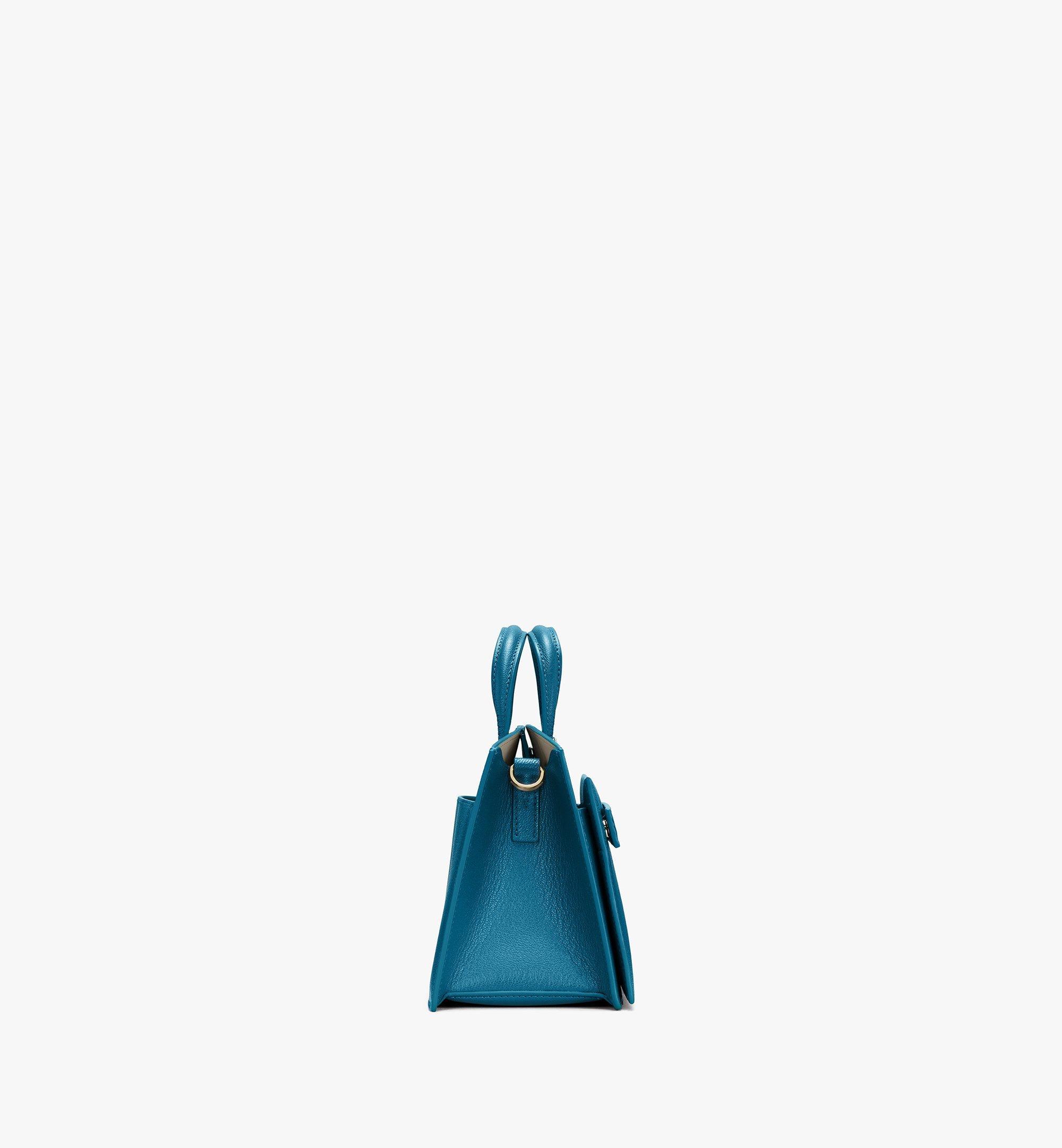 MCM Milano Tote Bag in Goatskin Leather Blue MWTASDA04JF001 Alternate View 2