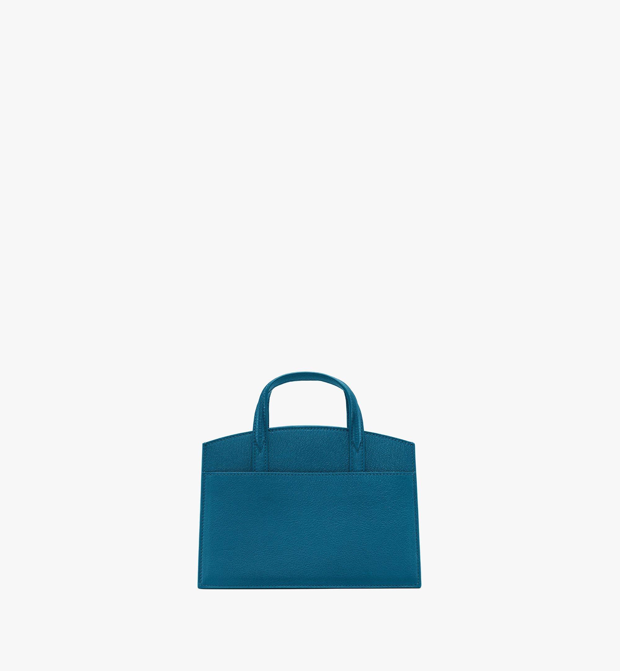 MCM Milano Tote Bag in Goatskin Leather Blue MWTASDA04JF001 Alternate View 3