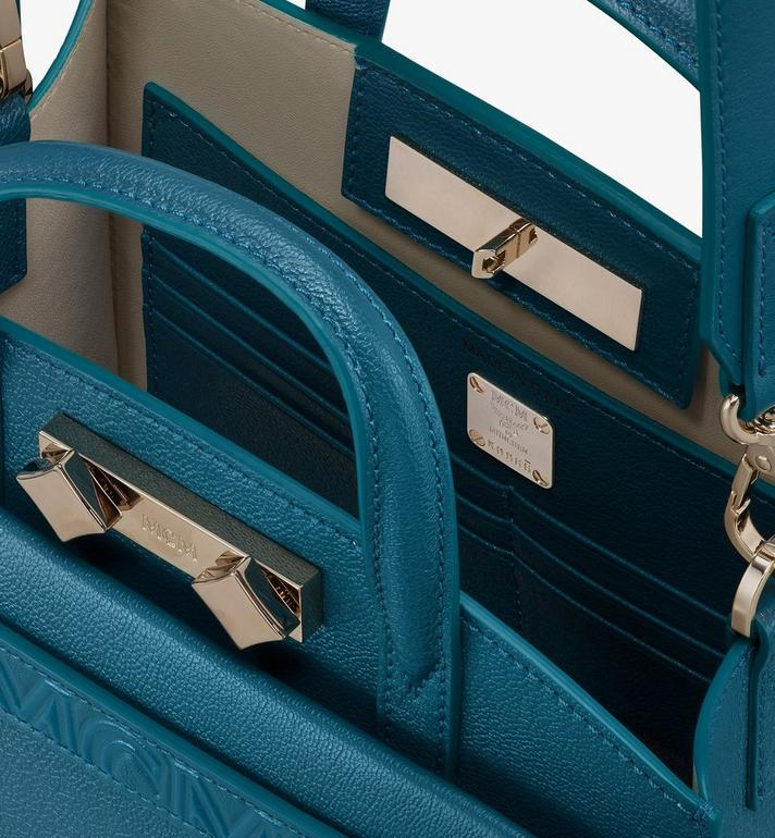 MCM Milano Tote Bag in Goatskin Leather Blue MWTASDA04JF001 Alternate View 4
