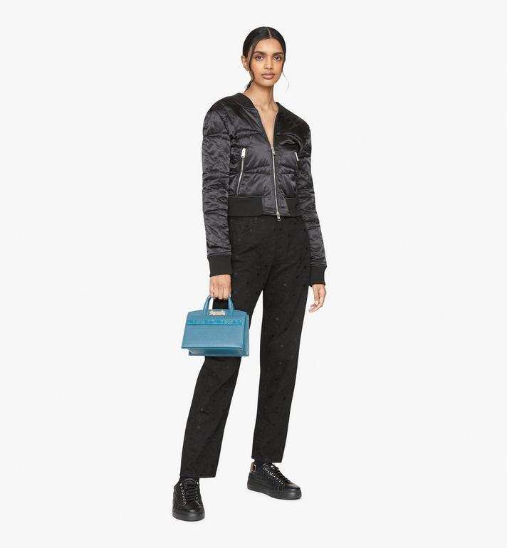 MCM Milano Tote Bag in Goatskin Leather Blue MWTASDA04JF001 Alternate View 5