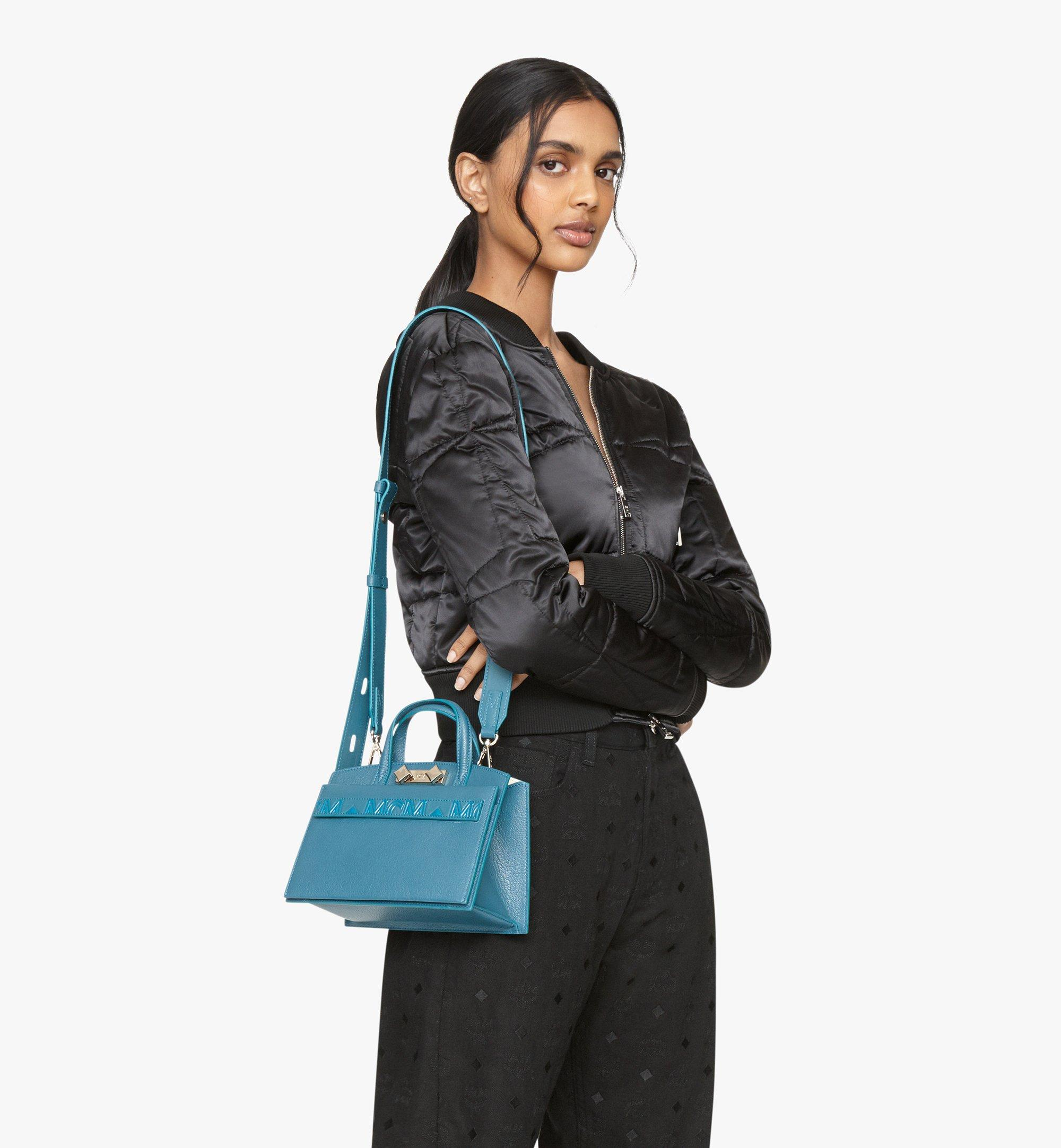 MCM Milano Tote Bag in Goatskin Leather Blue MWTASDA04JF001 Alternate View 6