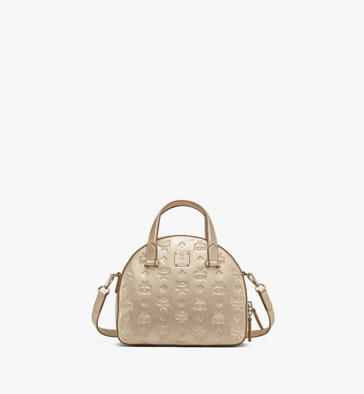 MCM Essential Half Moon Tote in Monogram Metallic Leather Gold MWTASSE02T1001 Alternate View 1
