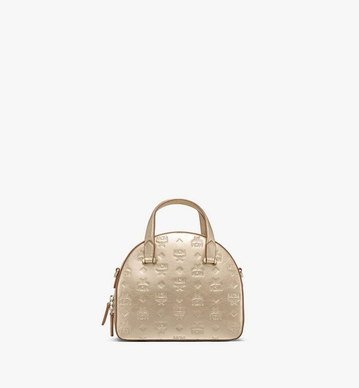 MCM Essential Half Moon Tote in Monogram Metallic Leather Gold MWTASSE02T1001 Alternate View 3