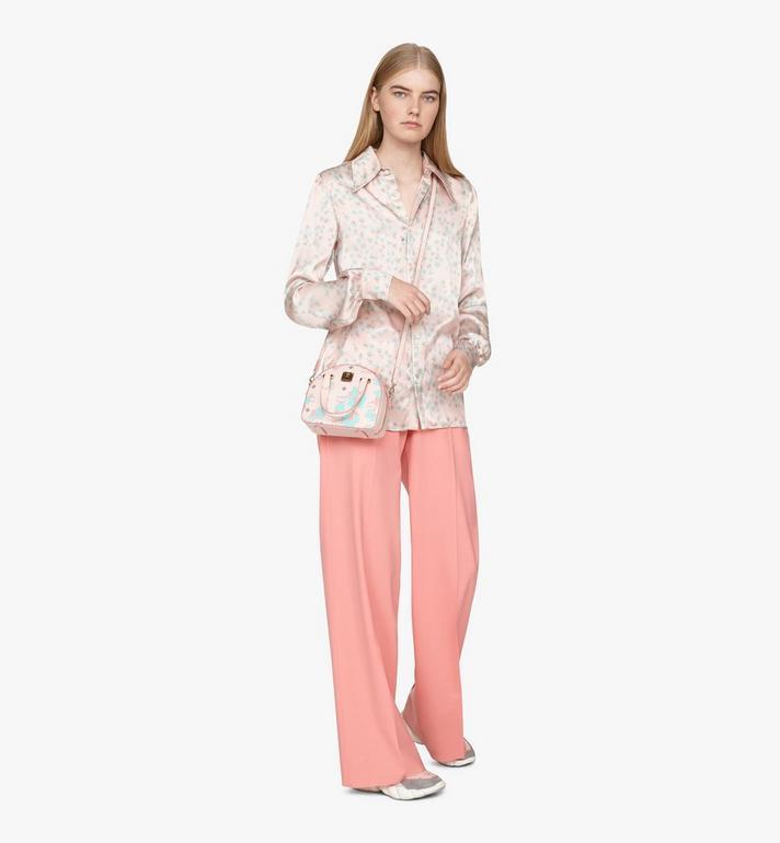 MCM Mini Essential Half Moon Tote in Floral Leopard Pink MWTASSE05QI001 Alternate View 5