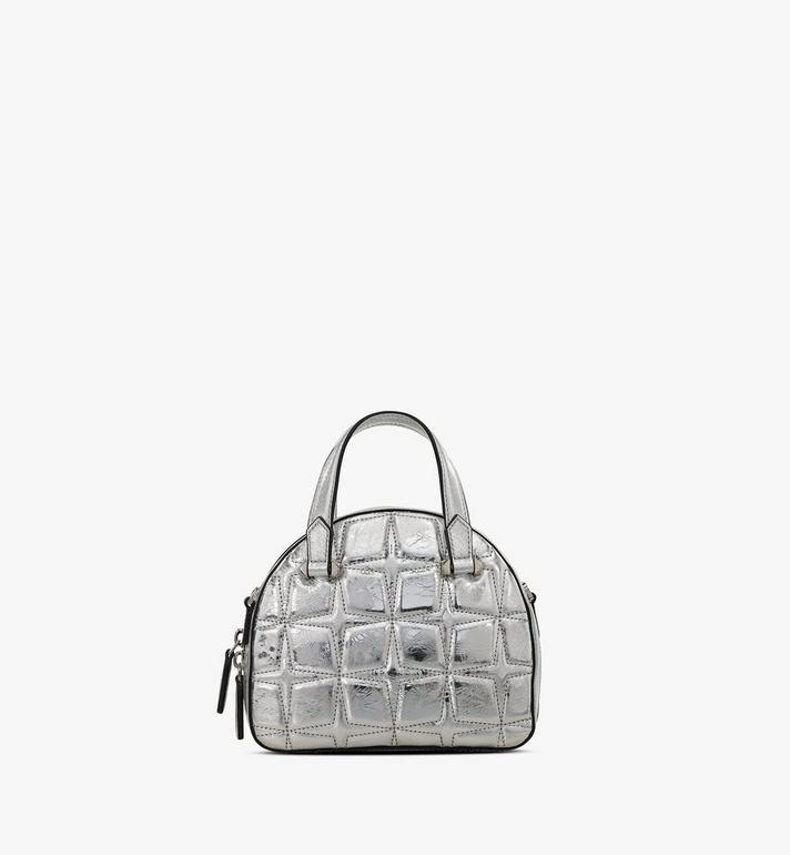 MCM Essential Half Moon Tote in Metallic Diamond Leather Silver MWTASSE11SA001 Alternate View 3