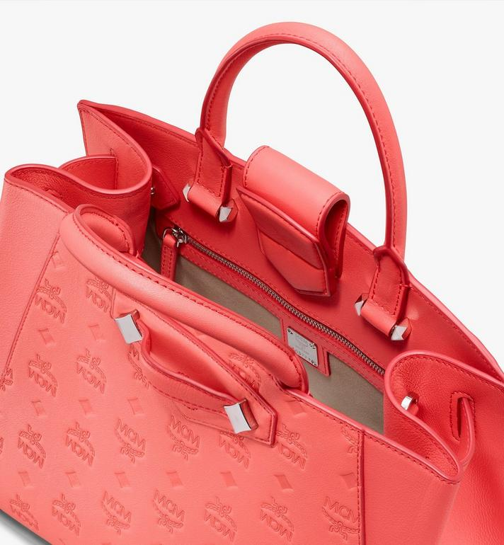 MCM Essential Tote in Monogram Leather Red MWTASSE16O3001 Alternate View 4