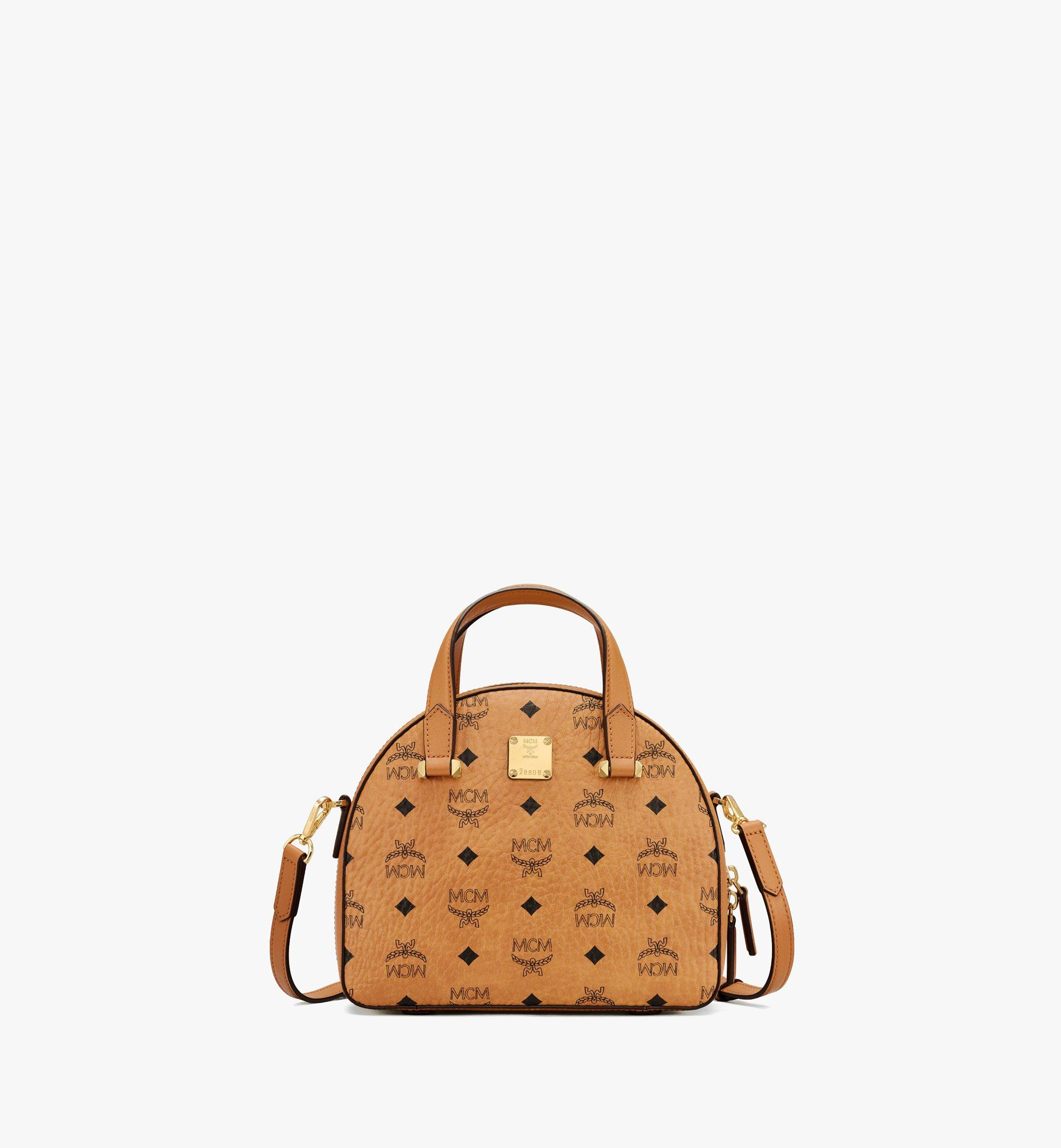 MCM Essential Half Moon Tote in Visetos Cognac MWTASSE19CO001 Alternate View 1