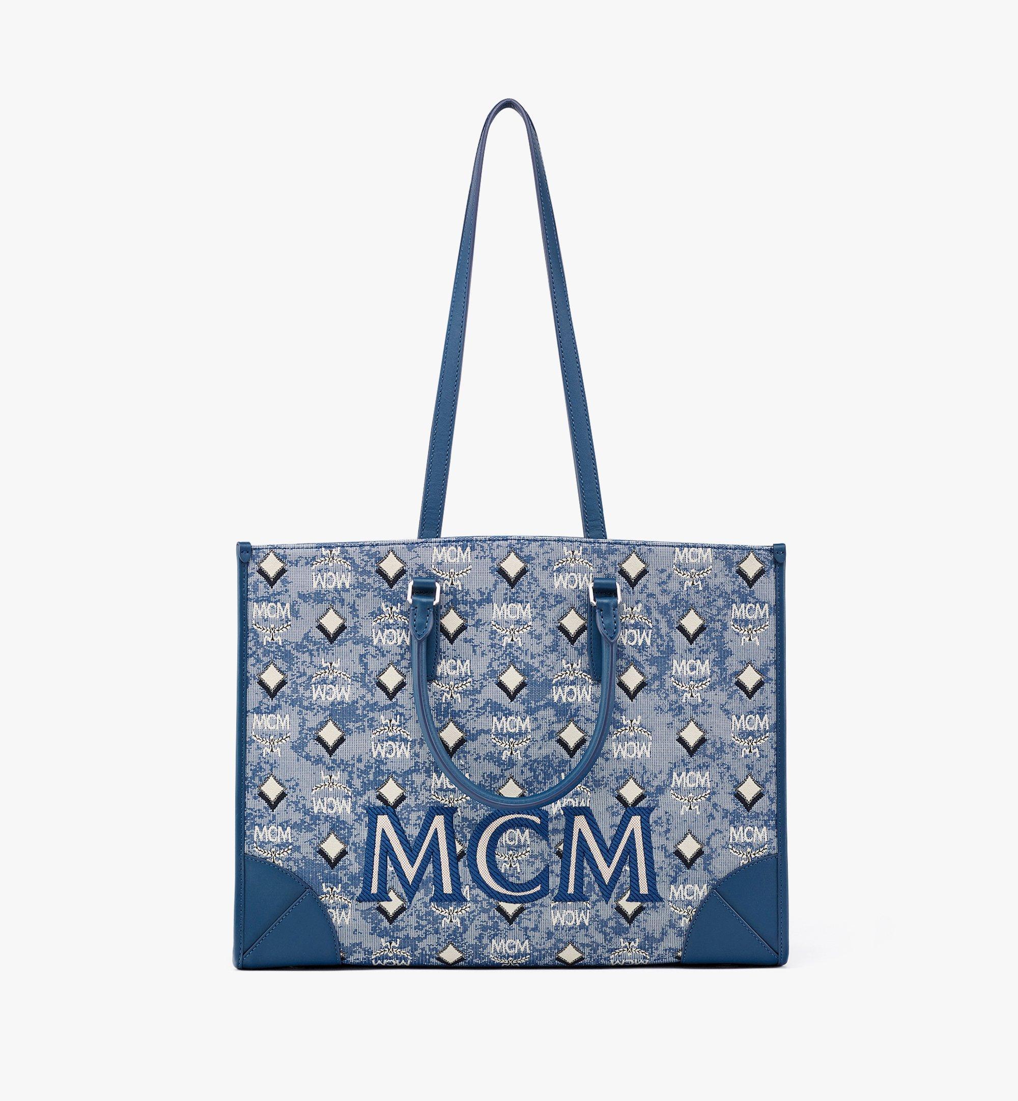 MCM Tote in Vintage Jacquard Monogram Blue MWTBATQ01LU001 Alternate View 1