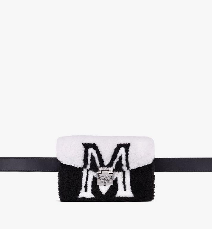 MCM Patricia Belt Bag in Contrast Logo Shearling Alternate View 1