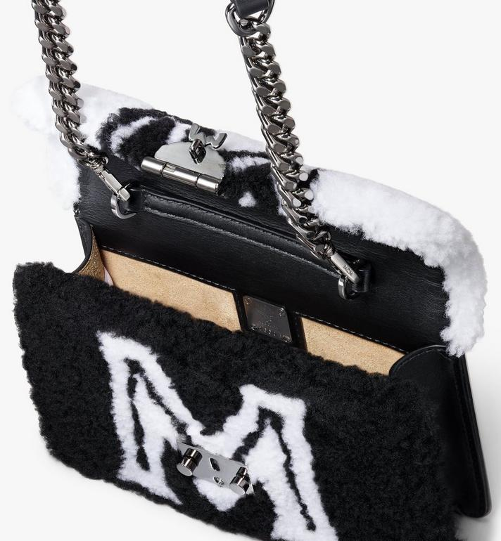 MCM Patricia Belt Bag in Contrast Logo Shearling White MWZ9APA93WD001 Alternate View 4
