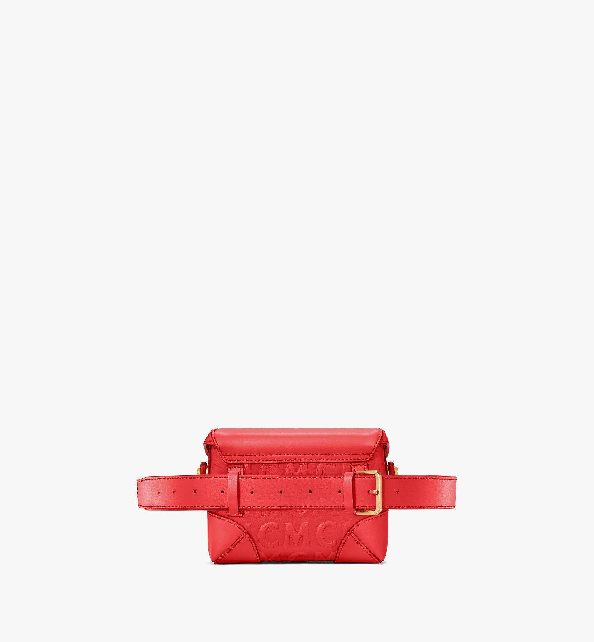 MCM Soft Berlin Belt Bag in MCM Monogram Leather Red MWZAABF01RP001 Alternate View 3