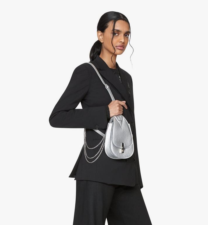 MCM Milano Belt Bag in Metallic Goat Leather Silver MWZASDA01SE001 Alternate View 5