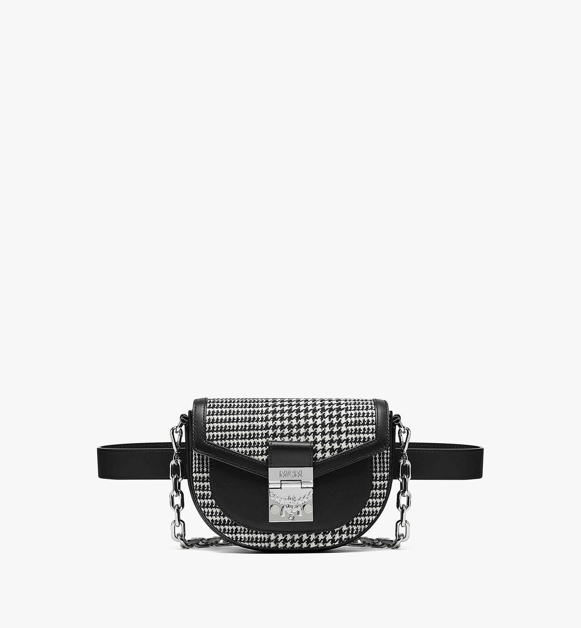MCM Patricia Belt Bag in Wool Leather Mix Black MWZBAPA01BK001 Alternate View 1