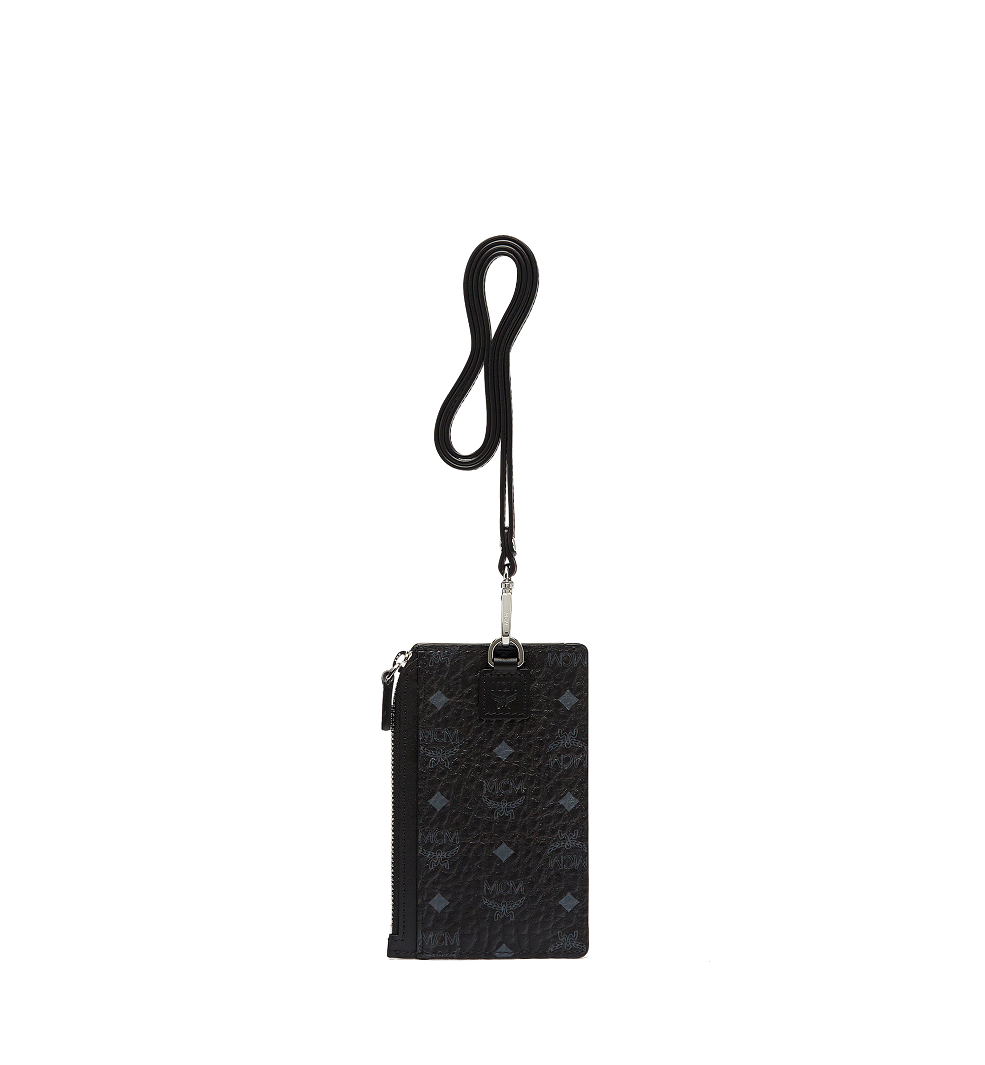 MCM Lanyard Card Holder in Visetos Black MXA7SVI41BK001 Alternate View 1