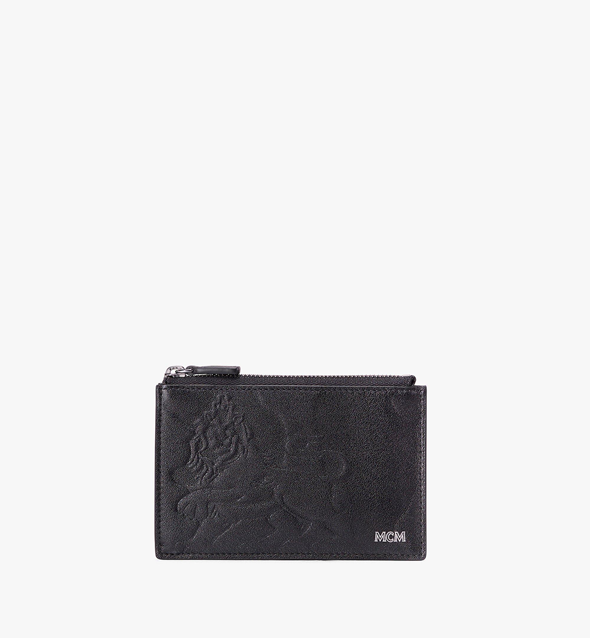 MCM Coin Card Holder in Embossed Lion Camo Black MXA9AES14BK001 Alternate View 1