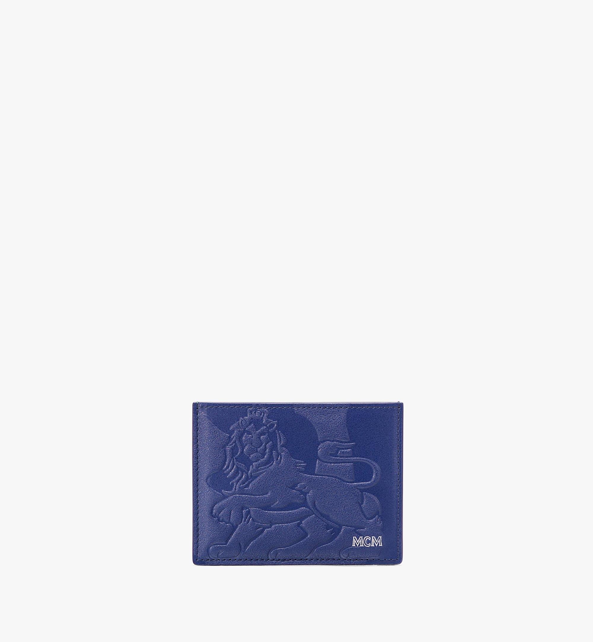 MCM Card Holder in Embossed Lion Camo Blue MXA9AES16VE001 Alternate View 1