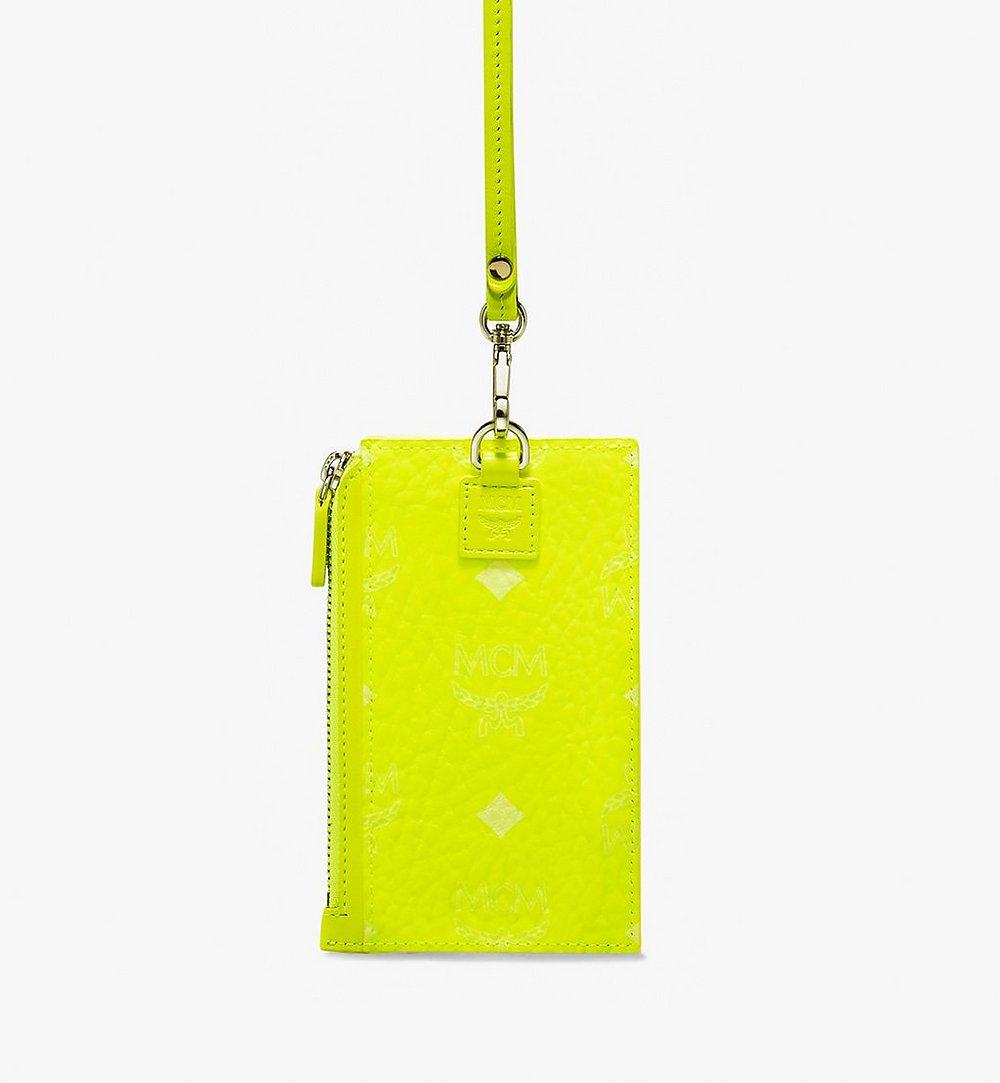 MCM Lanyard Card Holder in Visetos Yellow MXA9AVI37YN001 Alternate View 1