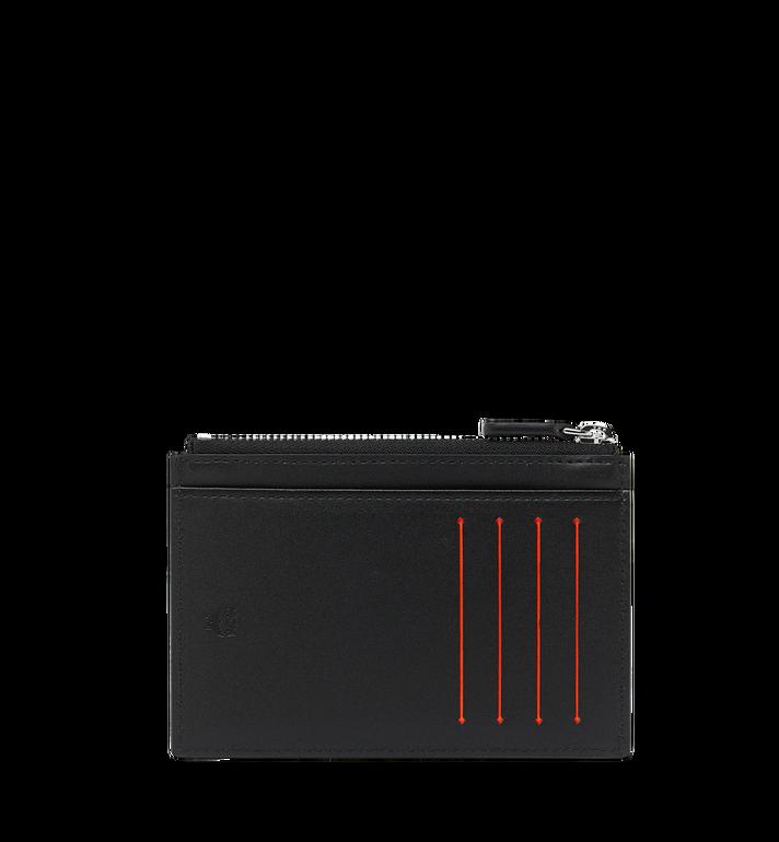 MCM Porte-cartes à fermeture éclair en cuir à logo imprimé Black MXA9SBM05BK001 Alternate View 3