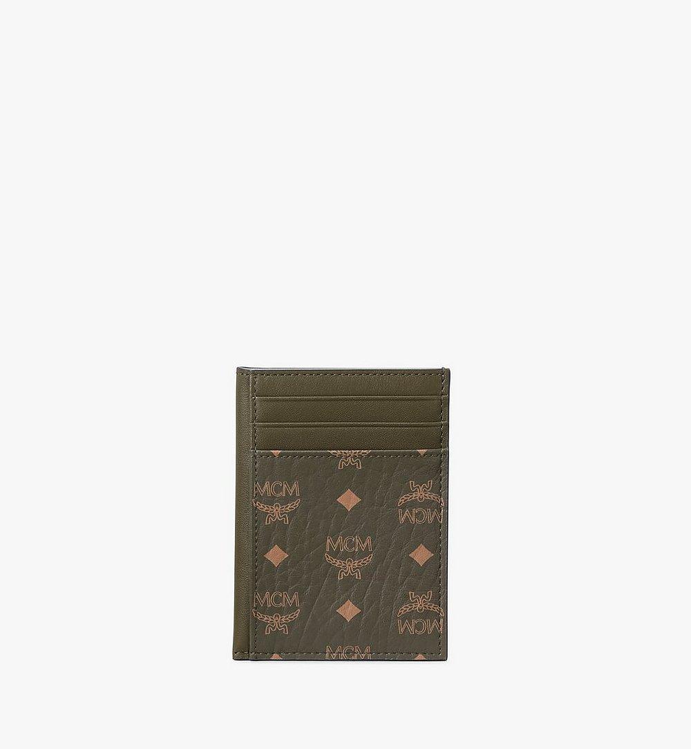 MCM N/S Card Case in Visetos Original Green MXAAAVI03JH001 Alternate View 1
