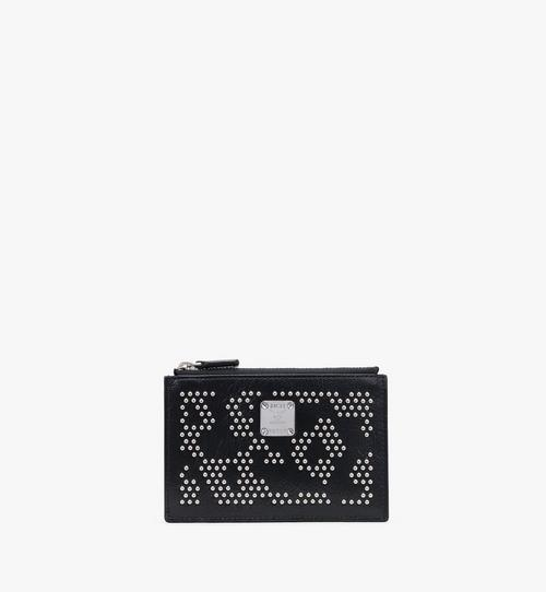 Card Holder in Leopard Studded Leather