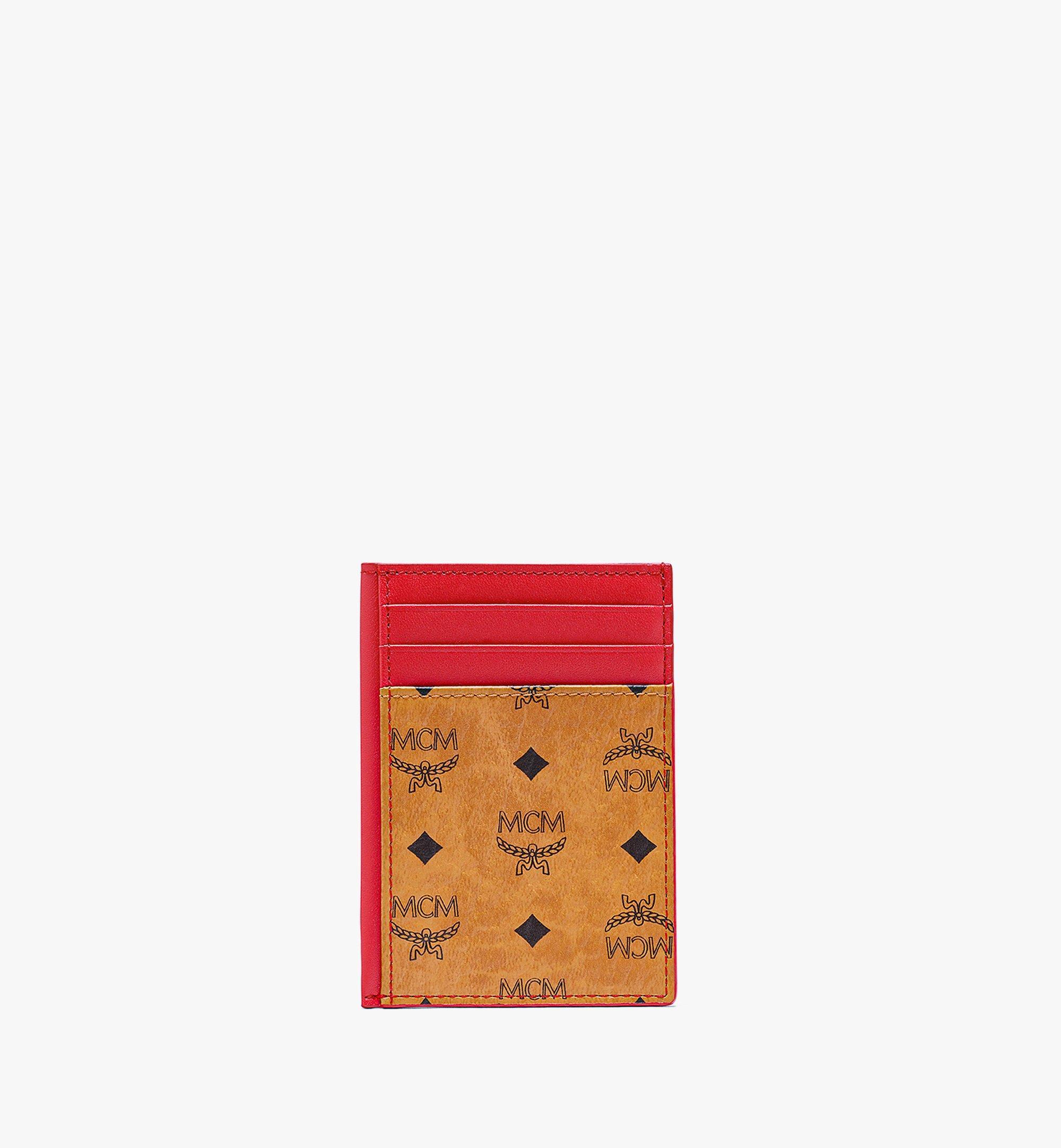 MCM N/S Card Case in Visetos Original Red MXABSVI03R4001 Alternate View 1