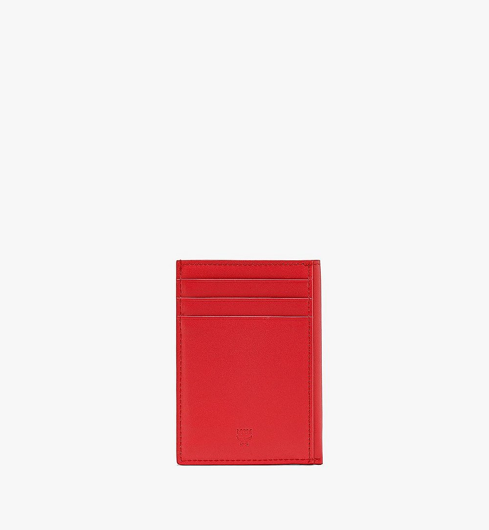 MCM N/S Card Case in Visetos Original Red MXABSVI03R4001 Alternate View 2