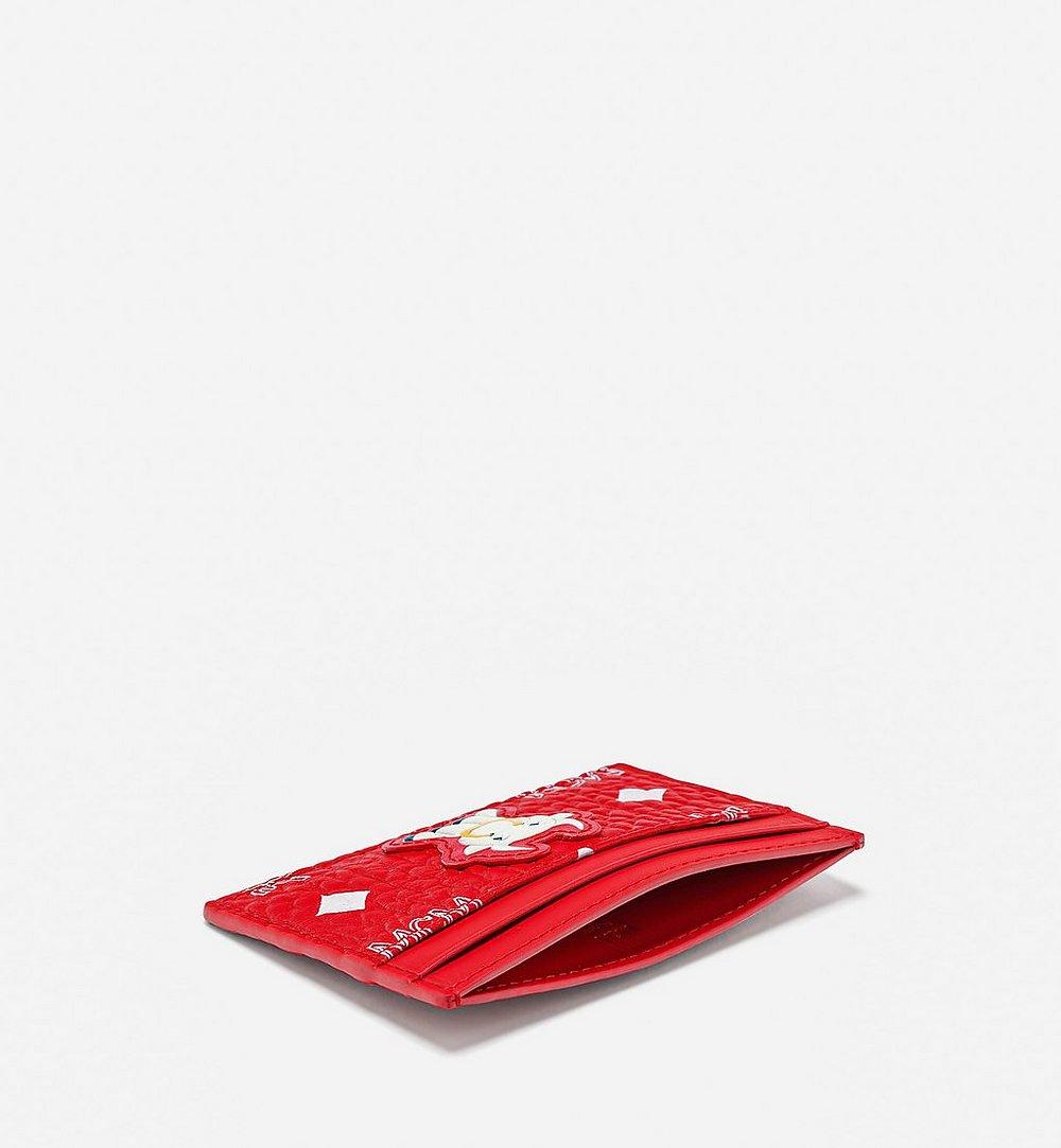 MCM Card Case in New Year Visetos Red MXABSXL01AV001 Alternate View 1