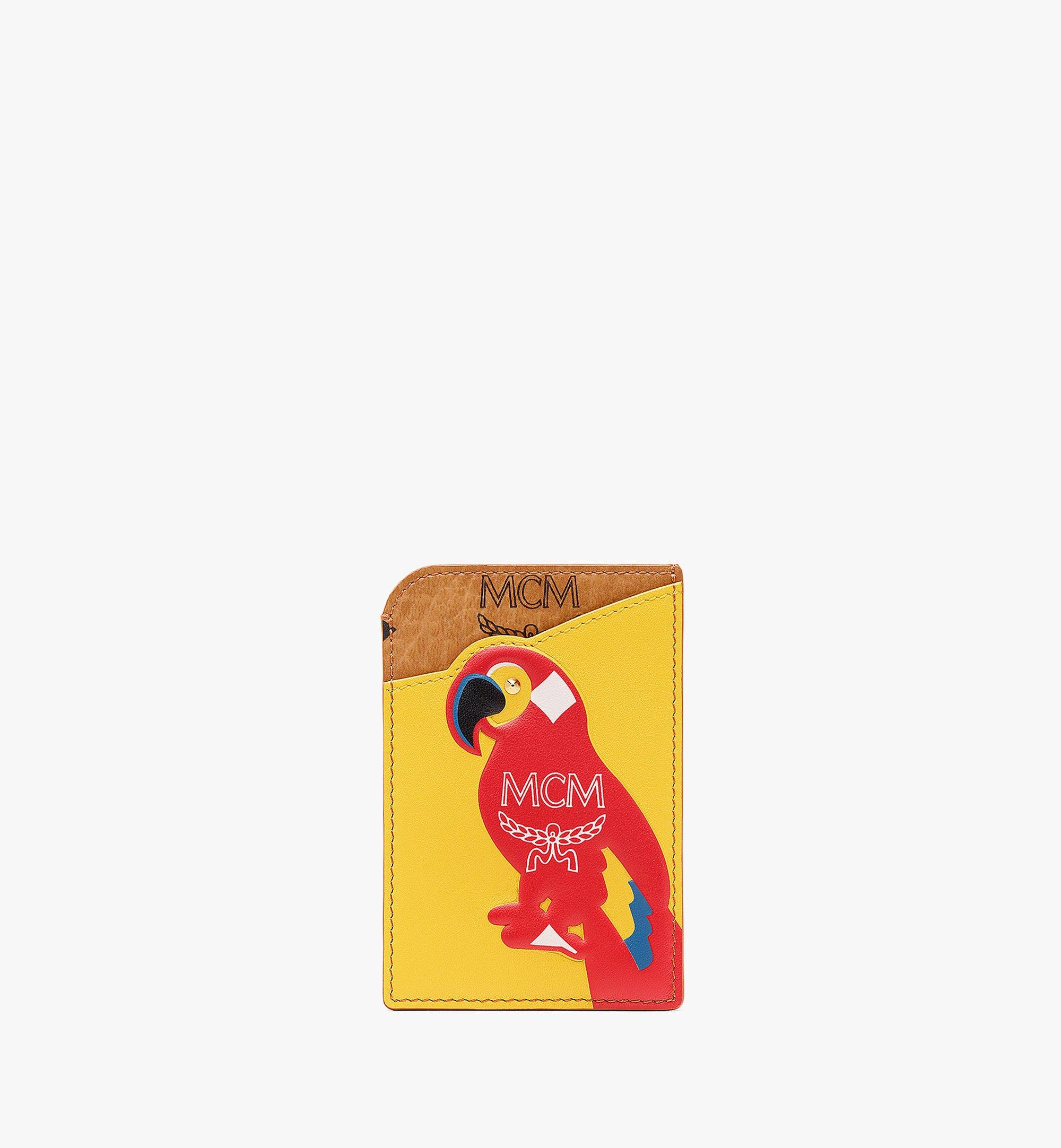 MCM MCM Zoo N/S Parrot Card Case in Visetos Leather Mix Cognac MXABSXL03CO001 Alternate View 1