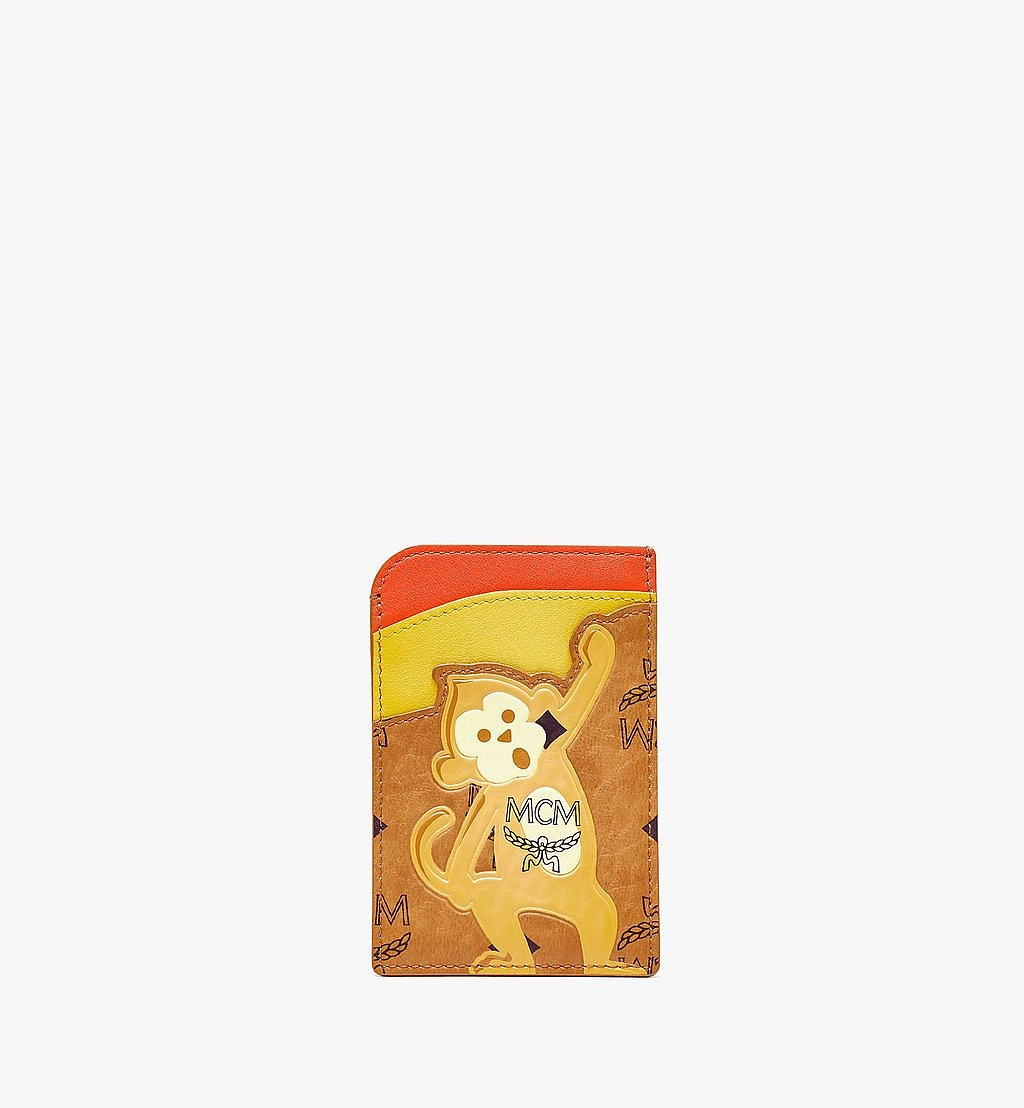 MCM MCM Zoo N/S Monkey Card Case in Visetos Leather Mix Cognac MXABSXL05CO001 Alternate View 1