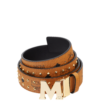 "MCM Claus Flat M Belt 1.5"" in Studded Outline Visetos MXB8AMM29CO001 AlternateView"