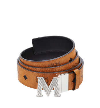 "MCM Claus Textured M Reversible Belt 1.5"" in Visetos Cognac MXB8SVI21CO001 Alternate View 1"