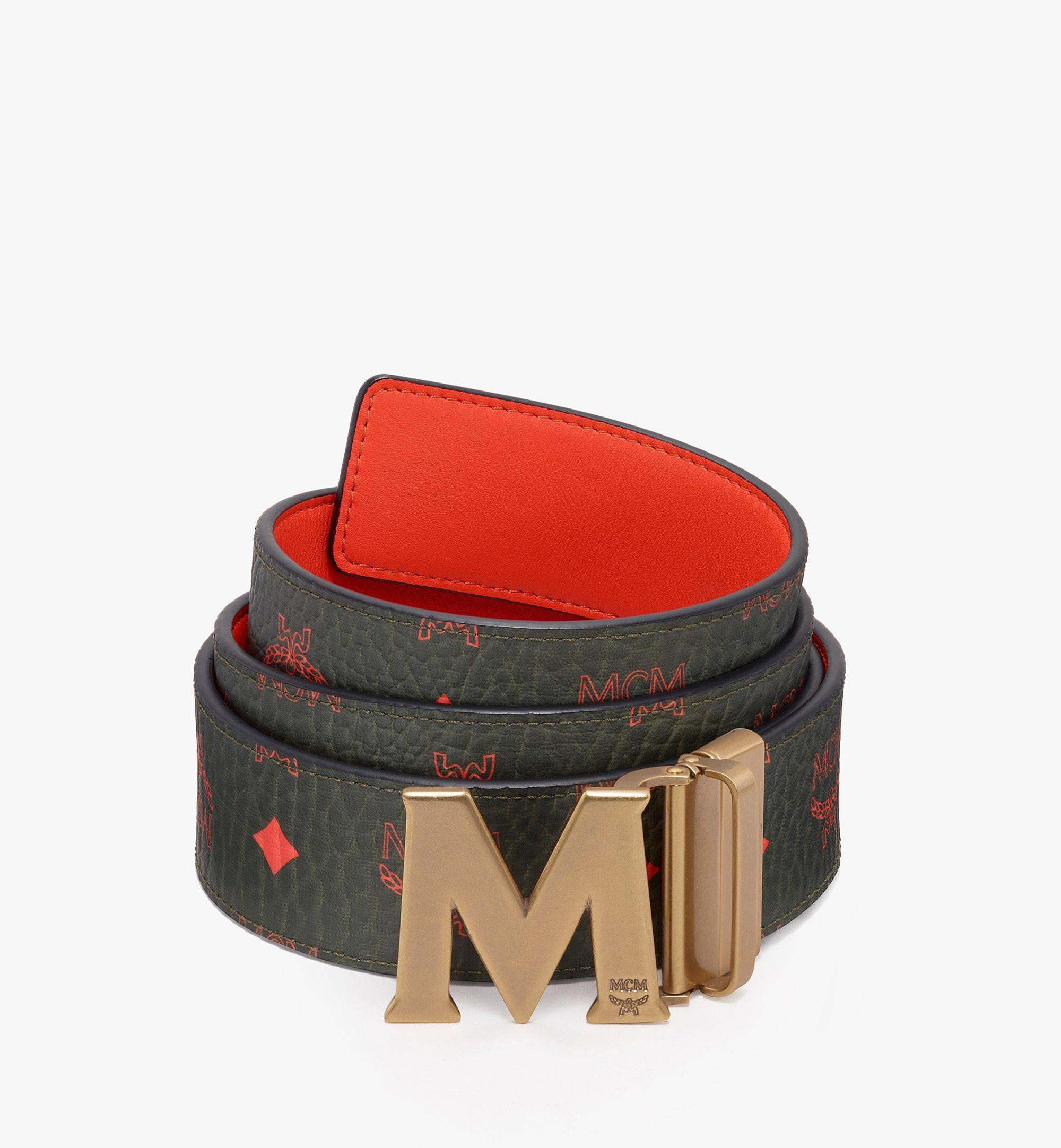 "MCM Claus Antique M Reversible Belt 1.75"" in Visetos Green MXB9AVI11G8001 Alternate View 1"