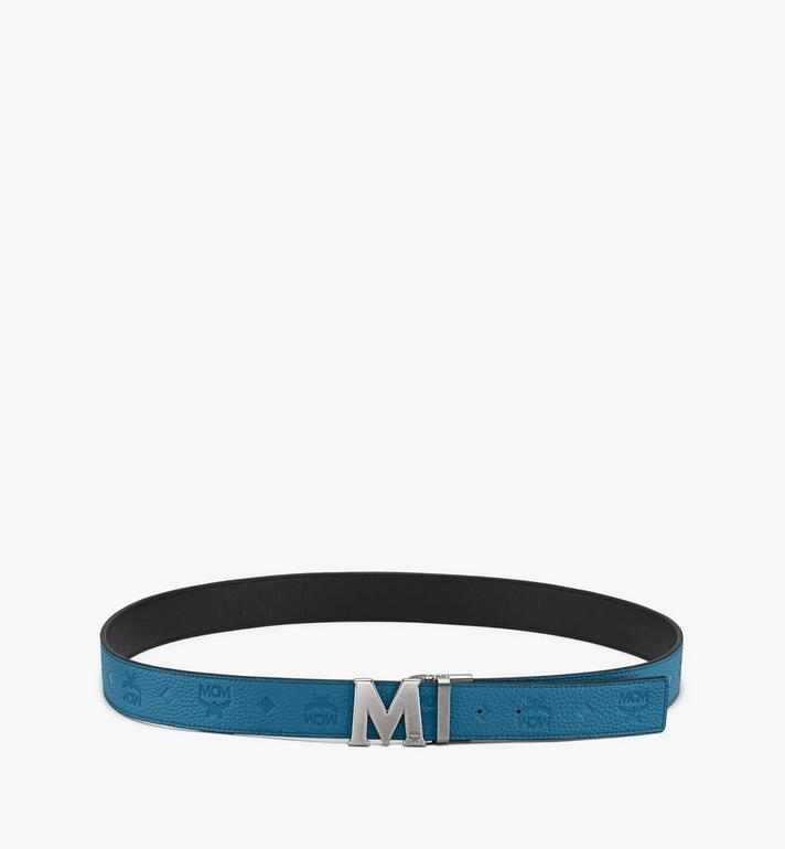 "MCM Claus M Reversible Belt 1"" in Monogram Leather Blue MXB9AVI17JF001 Alternate View 3"