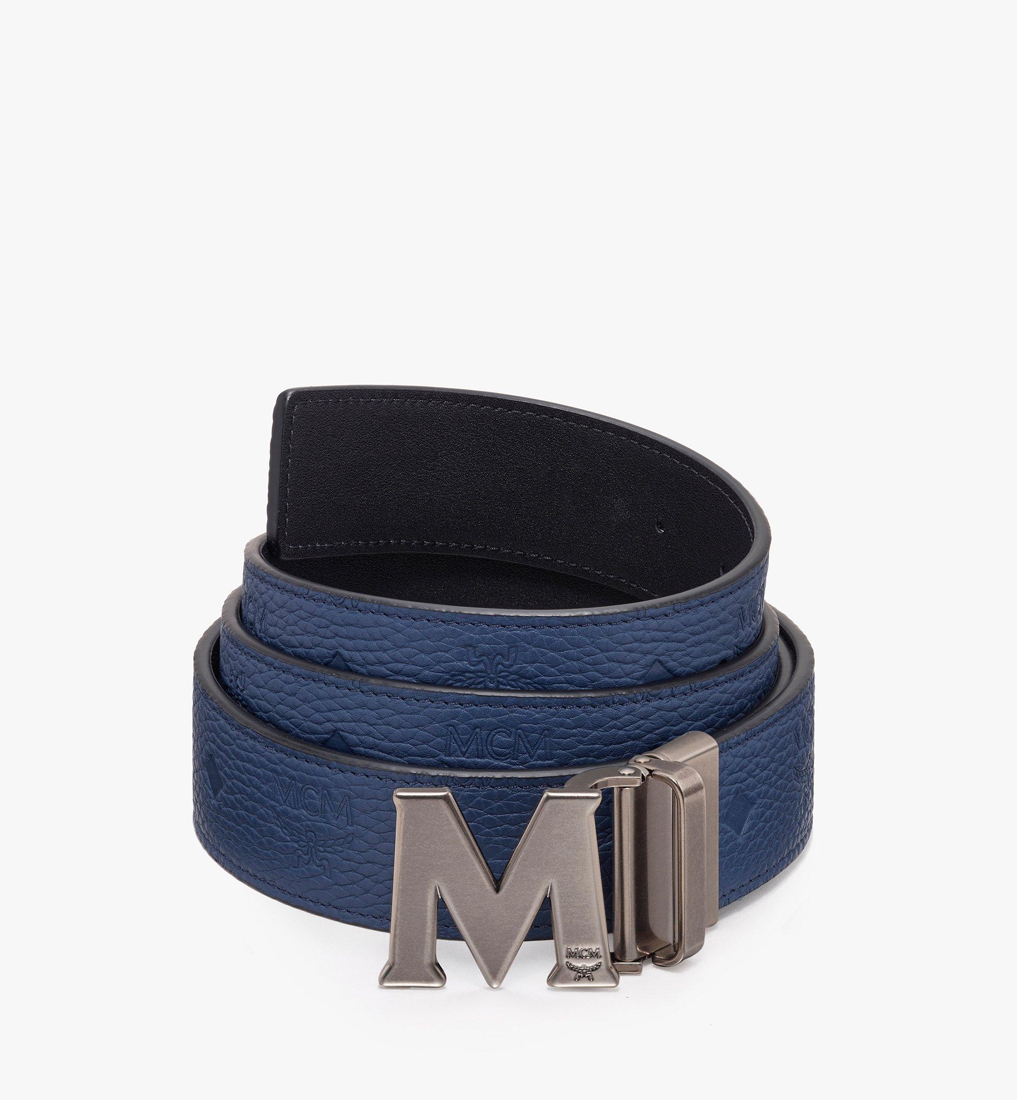 """MCM Claus Antique M Reversible Belt 1.5"""" in Monogram Leather Blue MXB9AVI17VA001 Alternate View 1"""