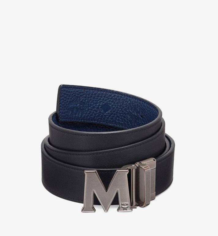 """MCM Claus Antique M Reversible Belt 1.5"""" in Monogram Leather Blue MXB9AVI17VA001 Alternate View 2"""
